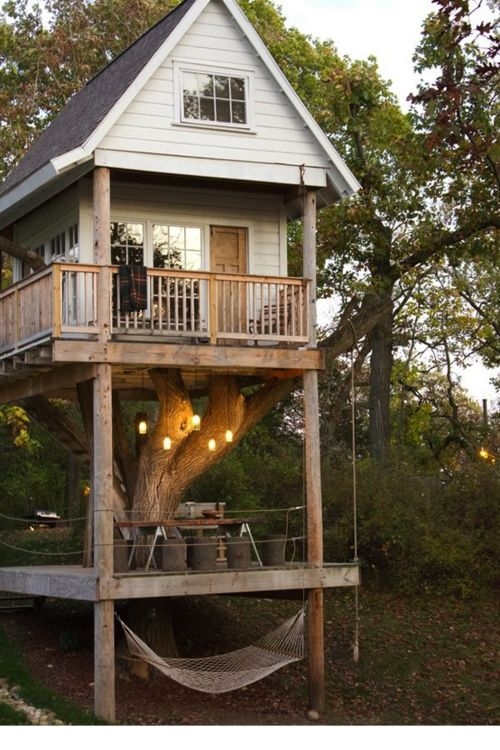 The Grandchildren would <3 this!: Cool Trees House, Hammocks, Awesome Trees House, Dream House, Guest House, Backyard, Treehouses, Dream Trees House, Kid