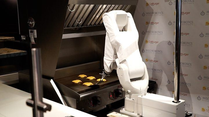 Burger-flipping robot takes short break   Media playback is unsupported on your device  Media captionWATCH: Flippy the burger robot gets to work  Flippy the burger-flipping robot that started work this week in a California restaurant has been forced to take a break because it was too slow.  The robot was installed at a Cali Burger outlet in Pasadena and replaced human cooks.  But after just one day at work the robot has been taken offline so it can be upgraded to cook more quickly.  Its…