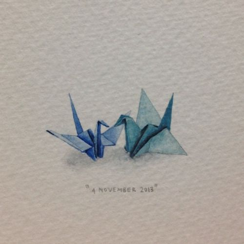 Day 307 : Look @erifoo - it's you and @markskunkanansie! . 32 x 16 mm. #365paintingsforants  #miniature #watercolor #blue #origami #paper #cranes (at Vredehoek)