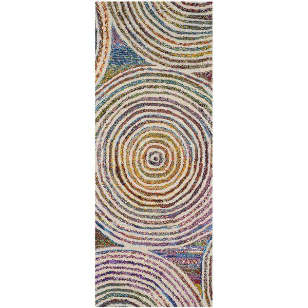 Genemuiden Hand Tufted Cotton Wool Purple Green Blue Area Rug