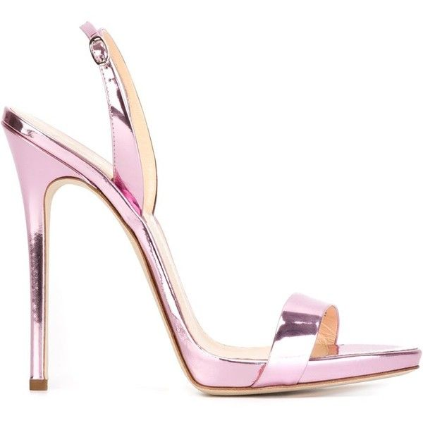 Giuseppe Zanotti Design Slingback Sandals ($470) found on Polyvore featuring shoes, sandals, heels, high heels stilettos, heels stilettos, stiletto sandals, sling back sandals and pink stilettos