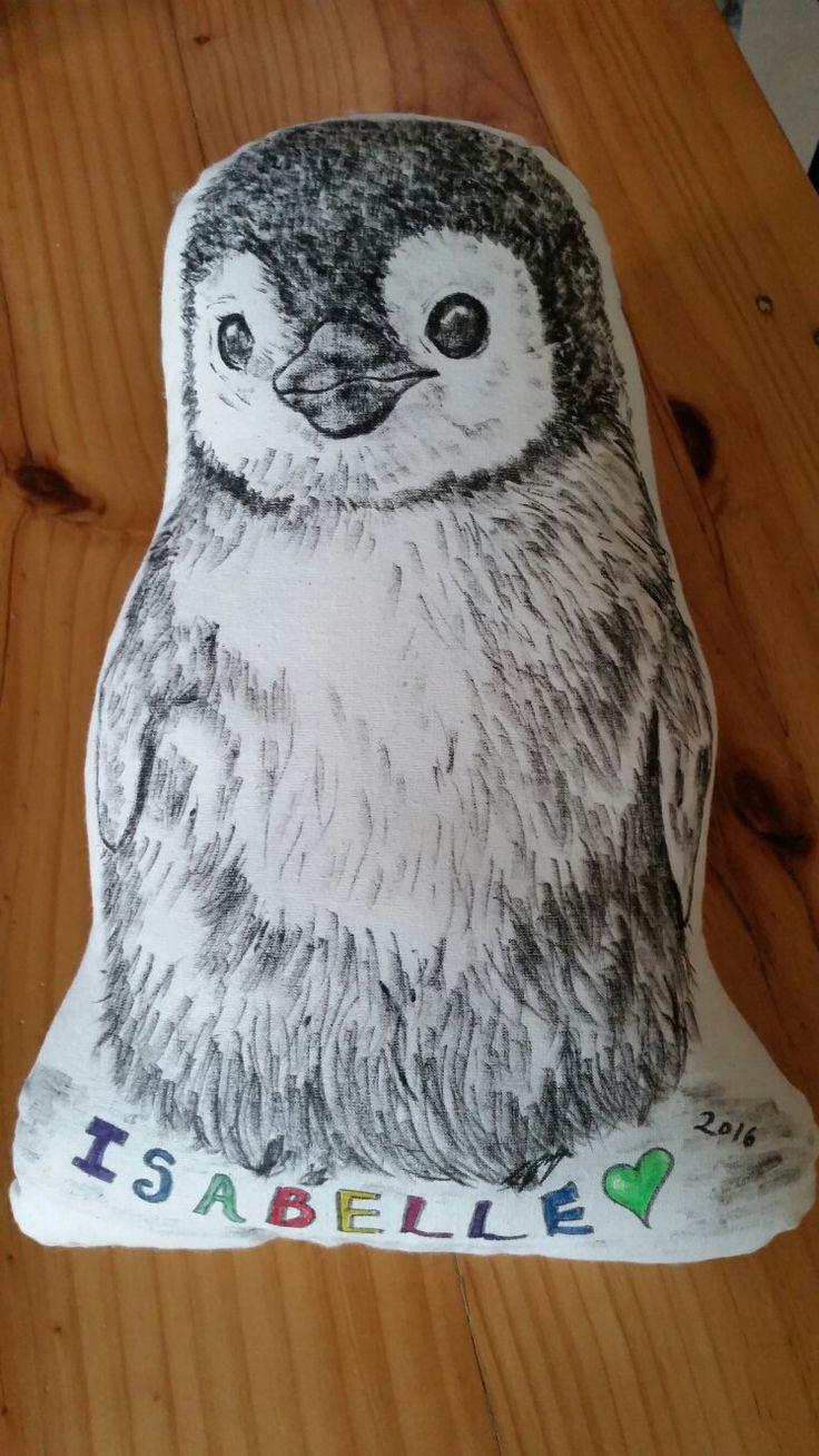 Penguin chick hand drawn cushion - custom order