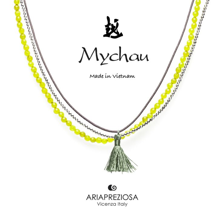 Mychau - Collana Tradizionale Vietnamita Agata Verde (Kiwy)