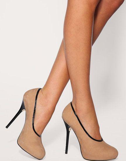 nude/black heel