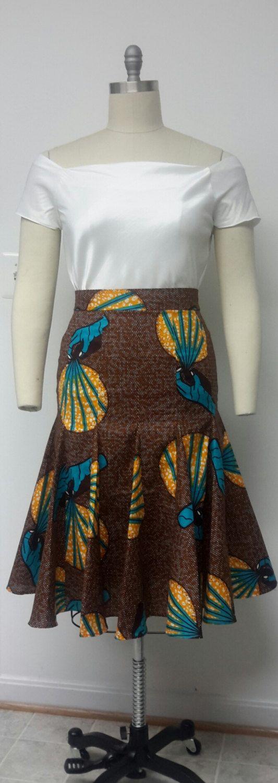 Imprimés africains. Muni jupe jupe Midi. par NanayahStudio sur Etsy