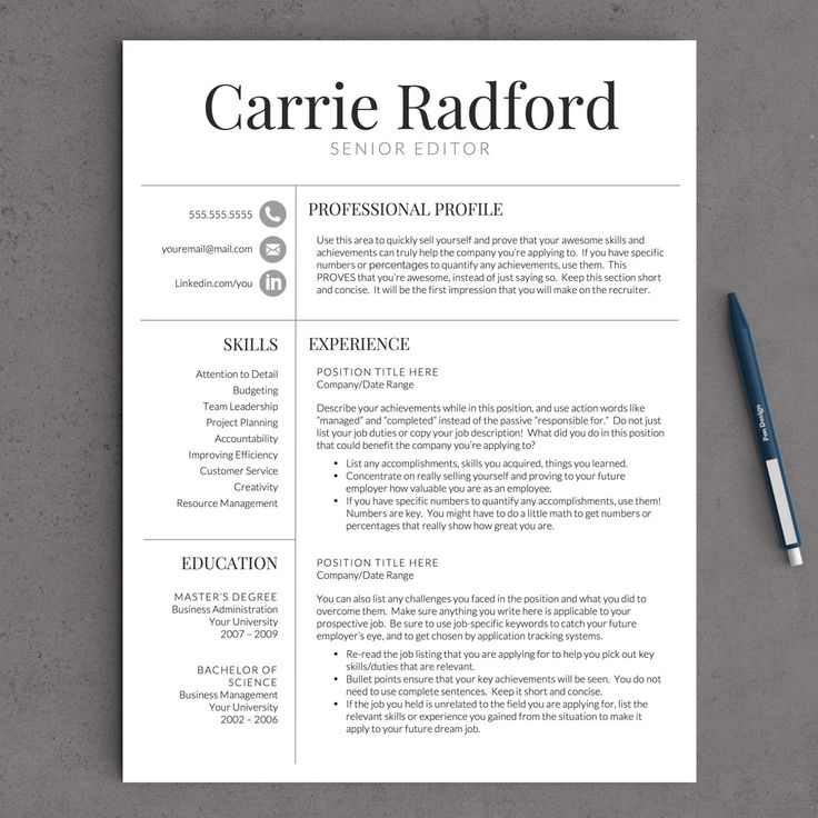 21 Best Images About Resume Design - Templates, Ideas ☮ On Pinterest