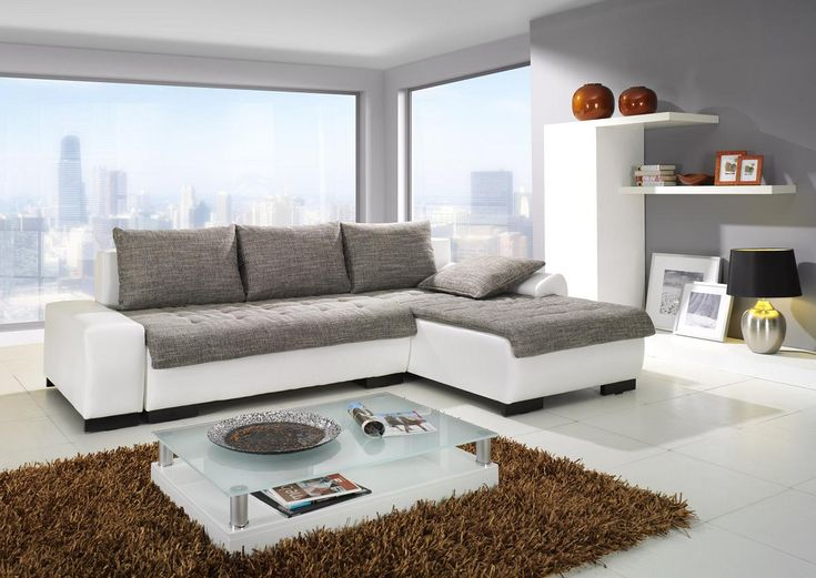 Minimalist Gray And White Living Room Design With Brown Feather Rug Ideas Modern Sofa