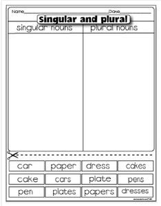 Classroom Freebies: Singular and Plural Nouns