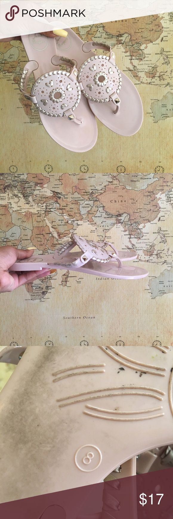 Jack Rodgers Rubber Sandals Baby pink and white gold jack Rodgers rubber sandals. Minimal wear, make offers 😋 Jack Rogers Shoes Sandals