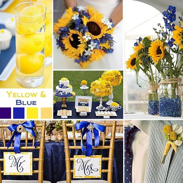 Love This Color Palate For August Blue Yellow Wedding Party Look