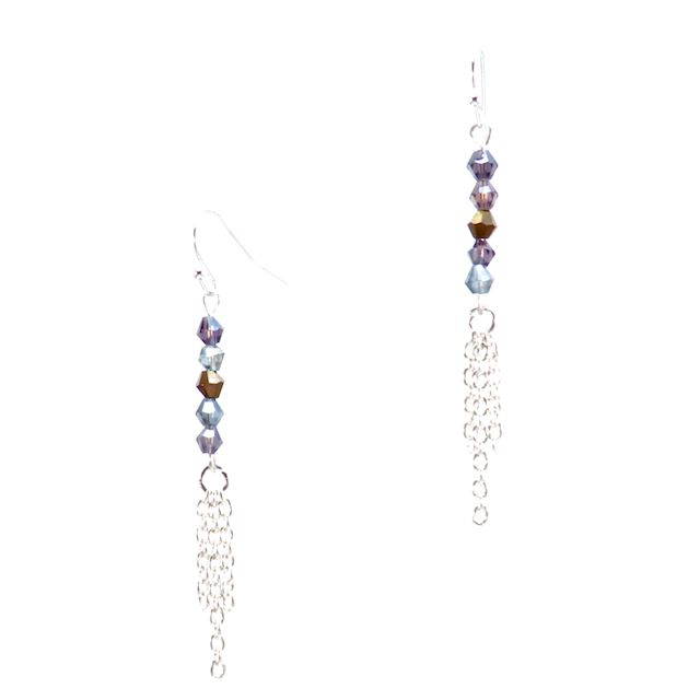 SPRING SUNSETSBeautiful genuine Bicone Swarovski Crystals in tones of Crystal Derade, Light Sapphire and Tanzanite layered with Sterling Silver Rolo Chain with a Sterling Silver earring hook. These earrings are inspired by spring sunsets. CA $24.95 http://pursuademe.com/shop/?id=189
