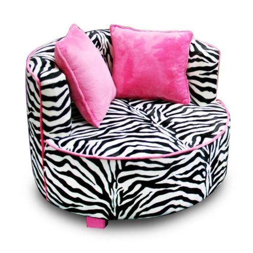 Black Pink Zebra Round Chair Air Room Dorm Kids Teen Bean Bag Furniture