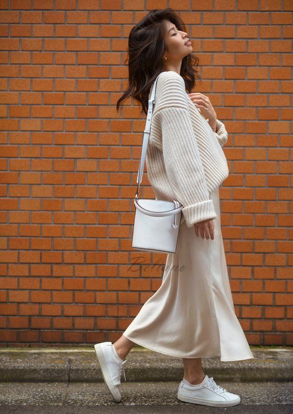 Silk midi Slip skirt ivory Silk Slip long fall trends looks fashion ideas Silk midi A-line skirt bot
