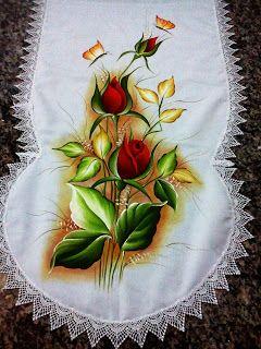 Rosvita Artes ...Pintura em Tecidos e Emborrachados: Caminho de mesa com acabamento em gripir