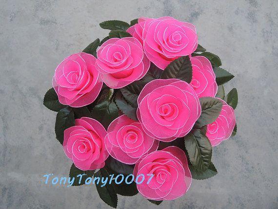 Handmade Rosy Roses Nylon Flower Decor Never Fade