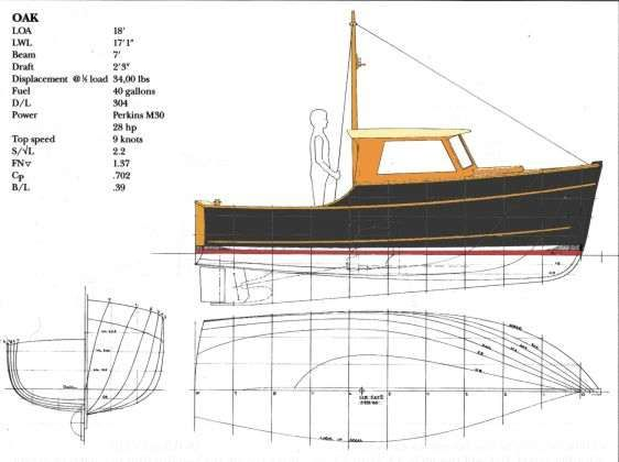 Oak 18' Inshore Fisherman ~ Planing & Semi-displacement Boats Under 29'~ Small Boat Designs by ...