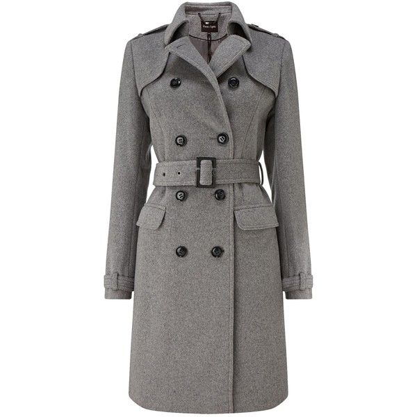 Phase Eight Jillian belted trench coat (1.230 RON) ❤ liked on Polyvore featuring outerwear, coats, grey, women, woolen trench coat, belted coat, wool coat, trench coat and phase eight
