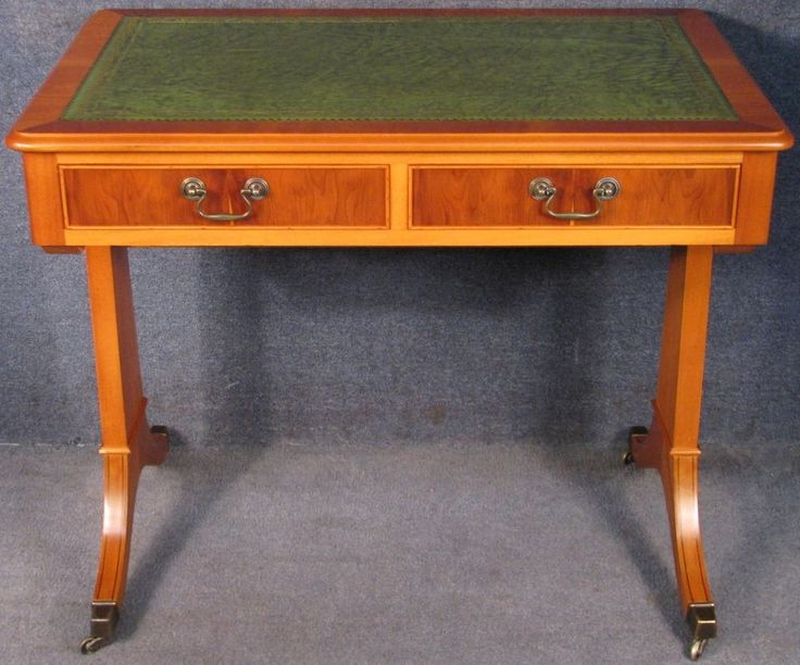 Regency Style Yew Wood Leather Top 2 Drawer Writing Table Small Desk