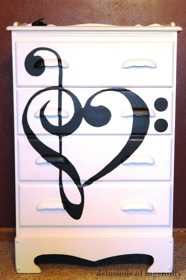 Furniture | Diy Before U0026 After Dresser With A Music Theme In White U0026 Black.