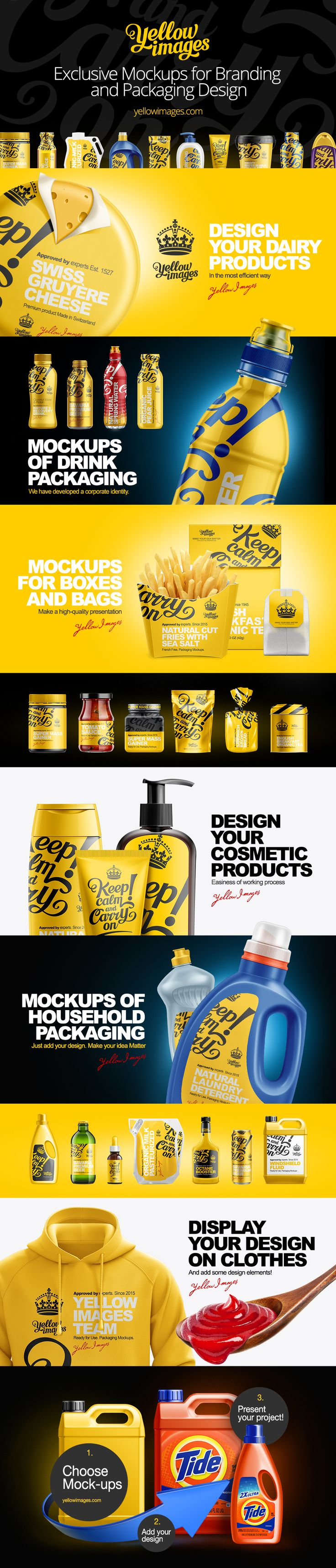 Yellow Images is the first-class online stock of unique design assets. The stock contains the full range of mockups for various packaging, transport, clothes, sport garments, media, etc. All the mockups are highly detailed and ready for your design. Join the Yellow Images!