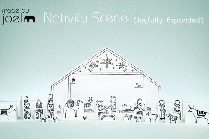 Free printable nativity scene expanded from last year... (great for activity based Advent calendars!)  Made by Joel » Paper City Nativity Scene (Joyfully Expanded!)