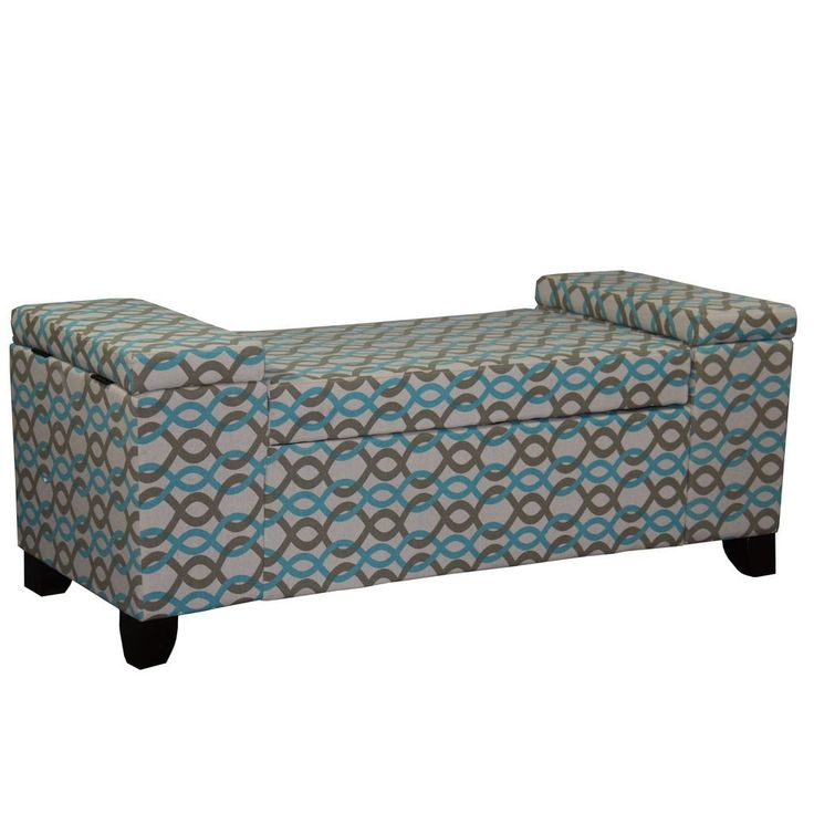 This contemporary chain link storage ottoman with two raised arm rests is padded with extra cushion will not only provide seating room for you and your guest, but also add a touch of modern decor.