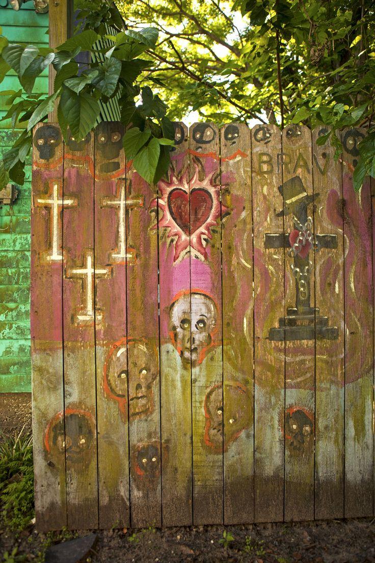 Voodoo inspired art in Rosalie Alley in Bywater neighborhood.