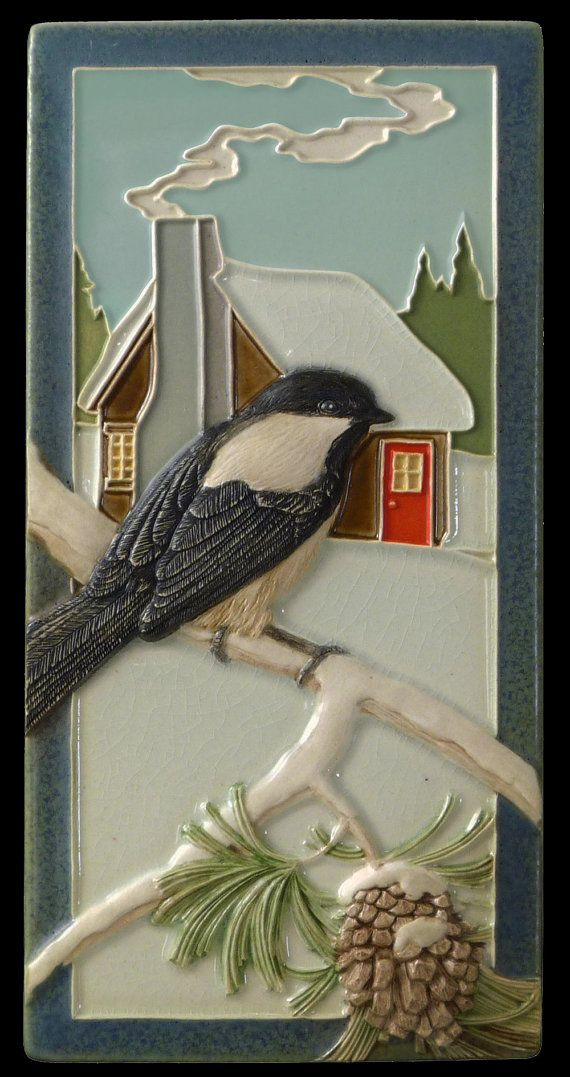 Ceramic tile Chickadee wall decor sculpture by Medicine Bluff Studio, $68.00   Reminder of a cooler season on this hot July day.