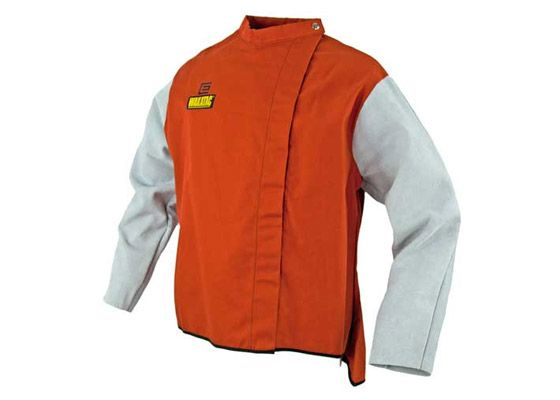 WAKATAC Proban Welding Jackets with chrome leather sleeves offers extra durability for the sleeve area which is usually destroyed first by welding spatter.