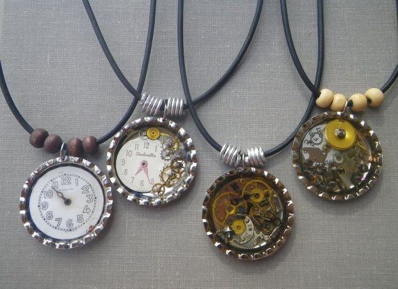 Steampunk Jewelry Bottle Caps | Steampunk Bottle Cap Charm with Vintage Watch Parts Unisex Necklace ...