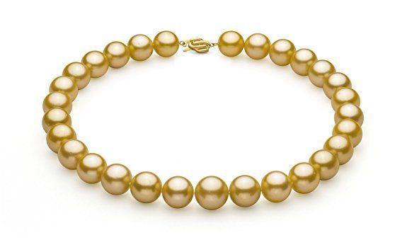 Halskette mit goldfarbenen, 14-15.7mm großen Südseeperlen in AAA+-Qualität
