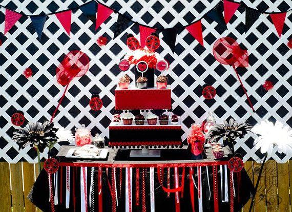 Fabulous backdrop- http://atozebracelebrations.com/2012/07/ladybug-party-3.html    http://www.etsy.com/listing/92940408/ladybug-party-garland