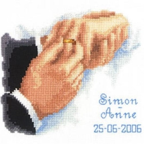 This counted cross stitch wedding design from Vervaco features the groom placing the wedding ring on his bride's finger. Space for names and a date below. Kit contains: fabric, thread, needle, chart and instructions. Type: Counted cross stitch kit. Fabric: 14 count white Aida cotton fabric Size: 16cm x 19cm