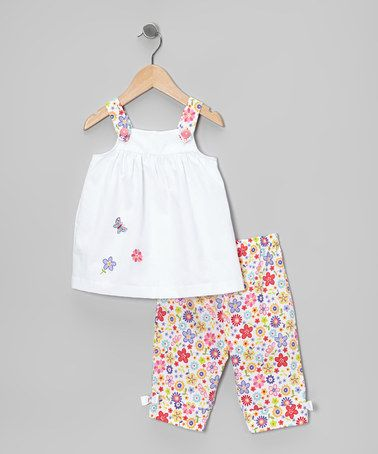 Love this White & Pink Butterfly Top & Pants - Infant, Toddler & Girls on #zulily! #zulilyfinds