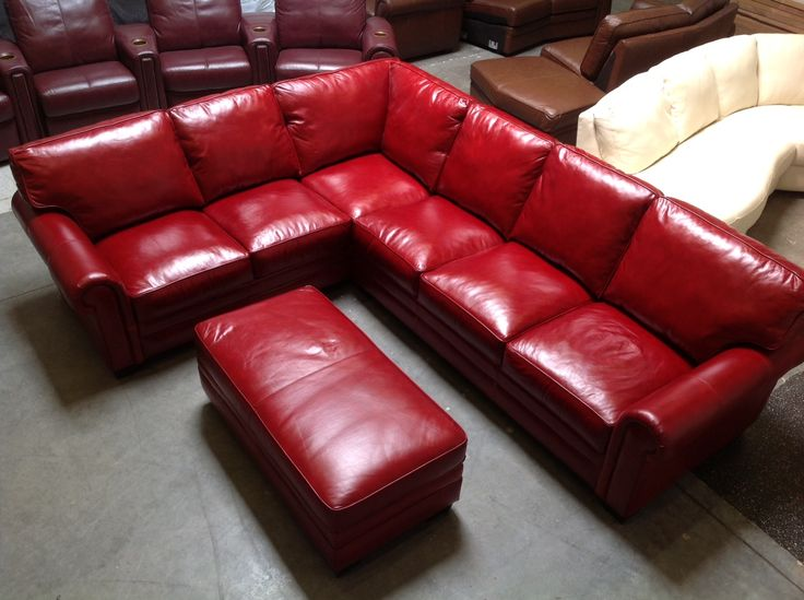 this beautiful red leather sectional just arrived for a customer great lifestyle look