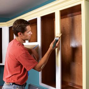 How to Paint Kitchen Cabinets, step-by-step. Might need this one day
