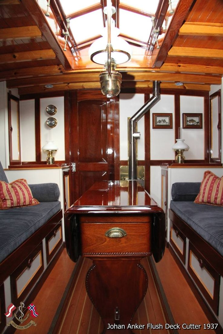 Beautiful sailing yacht interior 1937. Johan Anker's Flush Deck Cutter.McC