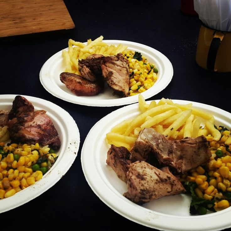 The WKND SOCIAL with www.angiesjerk.com chicken, fries and Corn salad. YUM