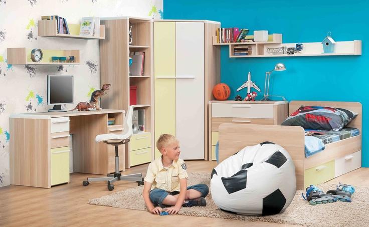 Moderní dětský nábytek - bílá, žlutá, hnědá http://www.vybersito.cz/zbozi/6051/detske-pokoje/detsky-nabytek-detsky-pokoj-flip/