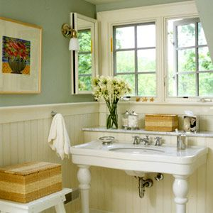 like the paint colourChic country bathroom. I would love this bathroom in my house one day!