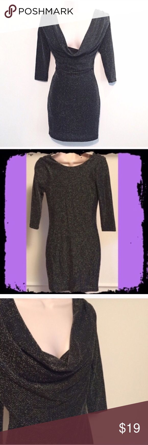 """❣BOGO 1/2 off❣🆕2 in 1 sexy silver mini dress NWOT, flawless. This dress could be worn either way- with plunge in back or front so you get 2 looks in 1 dress! Fully lined, stretchy nylon spandex blend. Measures approx 33"""" long, 34"""" bust, 28"""" waist, 12"""" sleeves. Size small. ✖️I do NOT MODEL✖️ 🔴Bundle to save! 🔴NO TRADES. 🔴REASONABLE offers welcome via offer button. Smoke free home. Fast shipping! boutique Dresses Mini"""