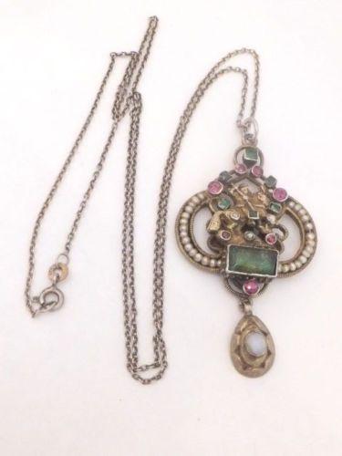 Austro-Hungarian-Emerald-Garnet-amp-Pearl-George-amp-the-dragon-pendant-necklace-925