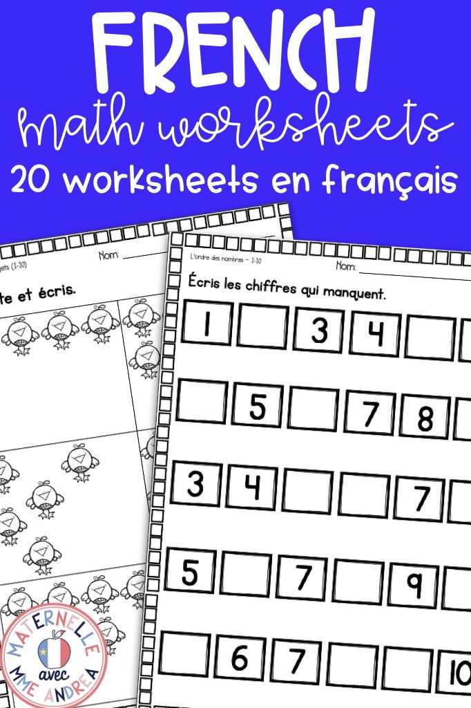French Math Worksheets No Prep Kindergarten Maternelle Math Worksheets Math Numbers Kindergarten