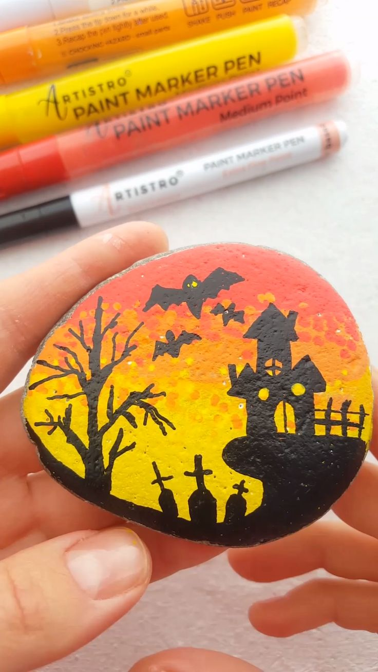 Halloween town painted rock video tutorial