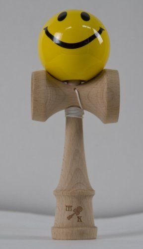 kendamas | Kendama Planet | Yellow Smiley Face Kendama, Includes Extra String,