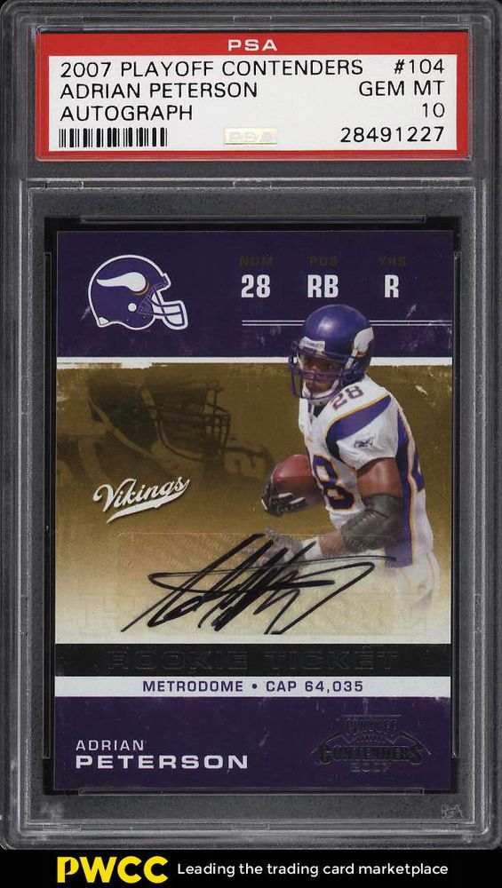 2007 Playoff Contenders Adrian Peterson Rookie Rc Auto 104