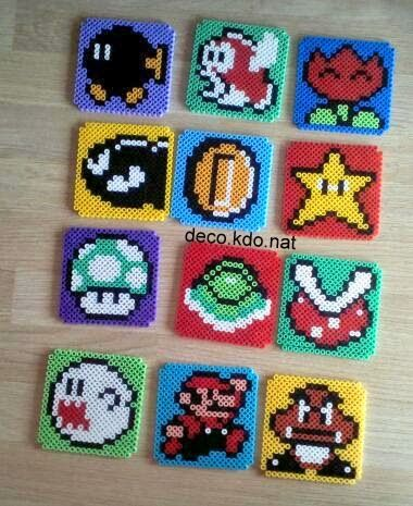 Mario coaster set hama beads by Deco.Kdo.Nat - Coaster holder…