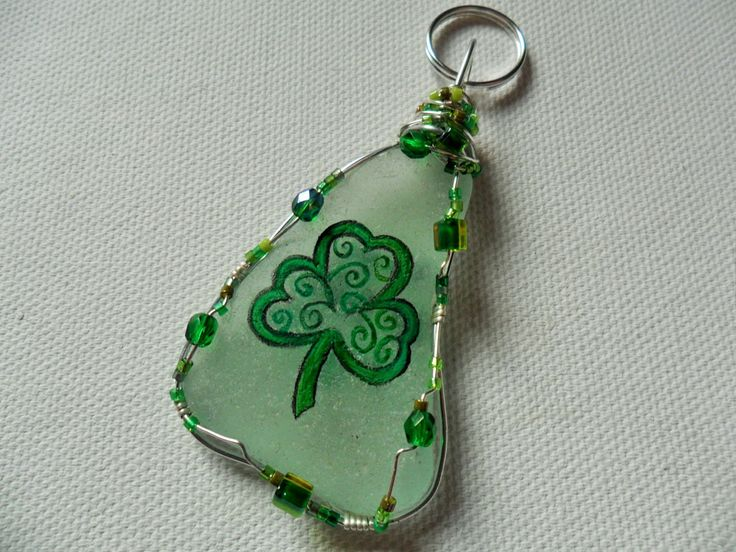 RESERVED St Patricks day bag charm - Hand painted wire wrapped English sea glass bag charm by ShePaintsSeaglass on Etsy