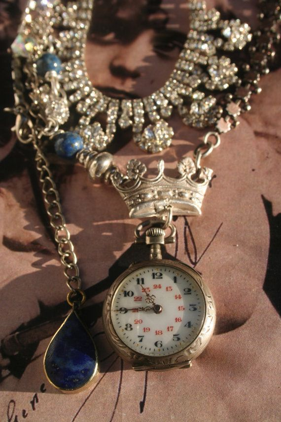 Antique assemblage necklace Pocket watch necklace Victorian