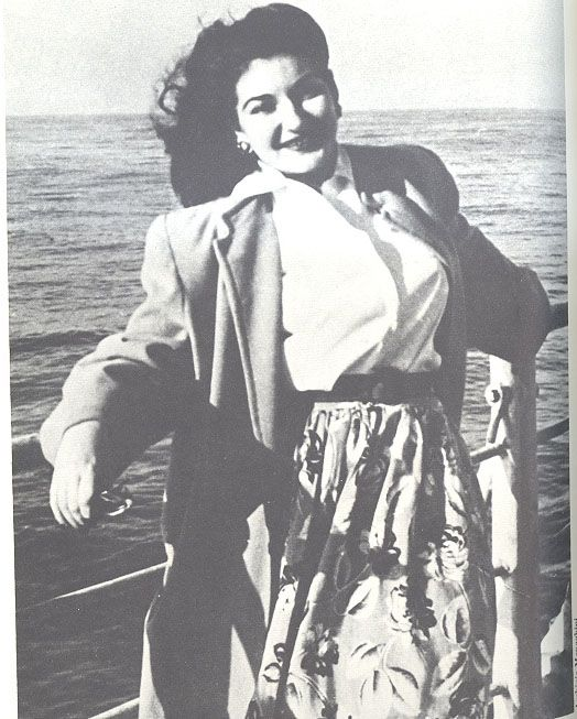 A young Maria Callas in june 1947 on the ship to Italy